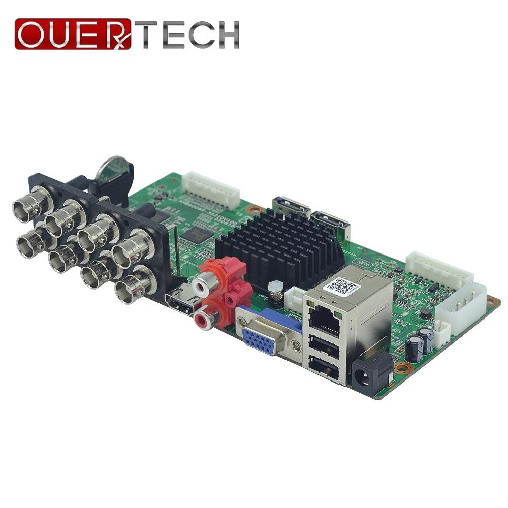 OUERTECH AHD CVI TVI IP CVBS 5 in1 8CH 4MP DVR board 4CH RCA Audio IN