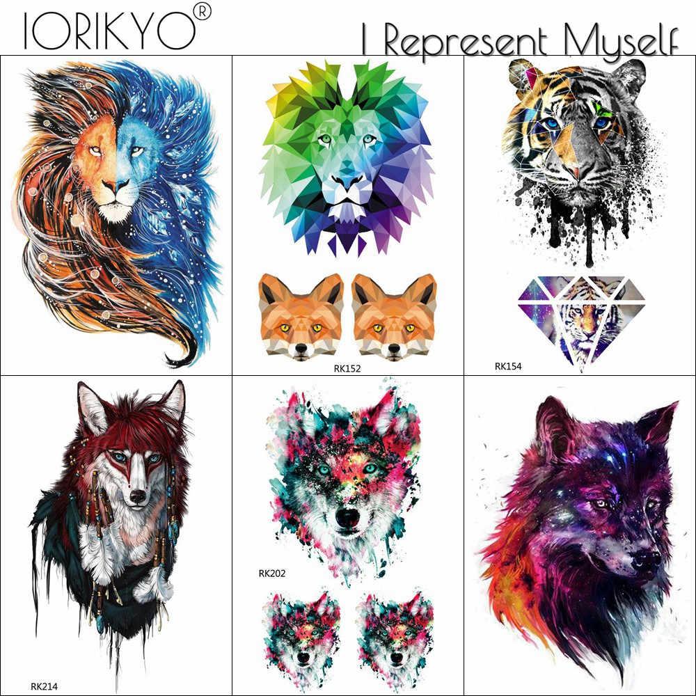 7ba7150ff 3D Flash Galaxy Wolf Temporary Tattoo Men Chest Tiger Art Tattoo Stickers  Women Geometric Tiger Tribe