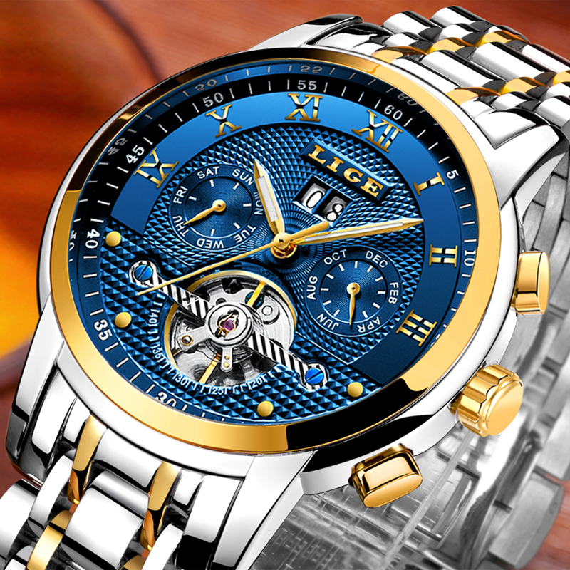 2018LIGE Mens Watches Brand Luxury Business Automatic Machinery Men's Watch All steel waterproof Men's Clock+Watchs Box