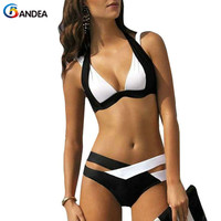 2016 Women Bikini Set High Neck Bikini Swimwear Bandage Brazilian Bikini Push Up Retro Halter Swimsuit