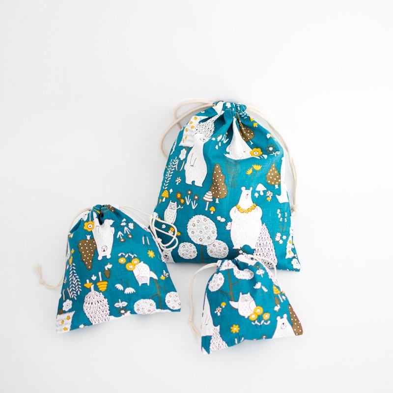 YILE Cotton Linen Fabric Handmade Cosmetic Bag Pouch String Closure Multi-purpose Bag Print Banana Size-choosing N056