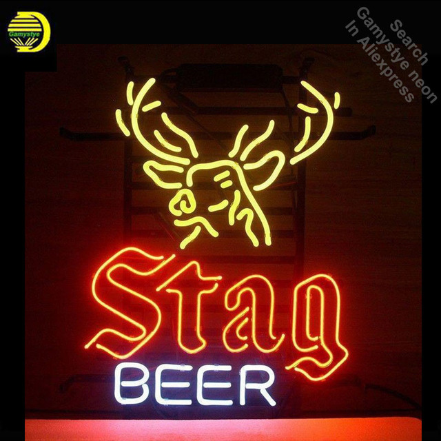 Neon Sign for STAG BEER Neon Bulbs sign Deer handcraft Glass tubes Decorate Beer Wall Room signs made to order