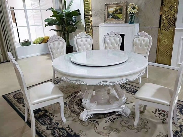 Antique Style Italian Dining Table, 100% Solid Wood Round Dining Table Set  Marble Modern DS661