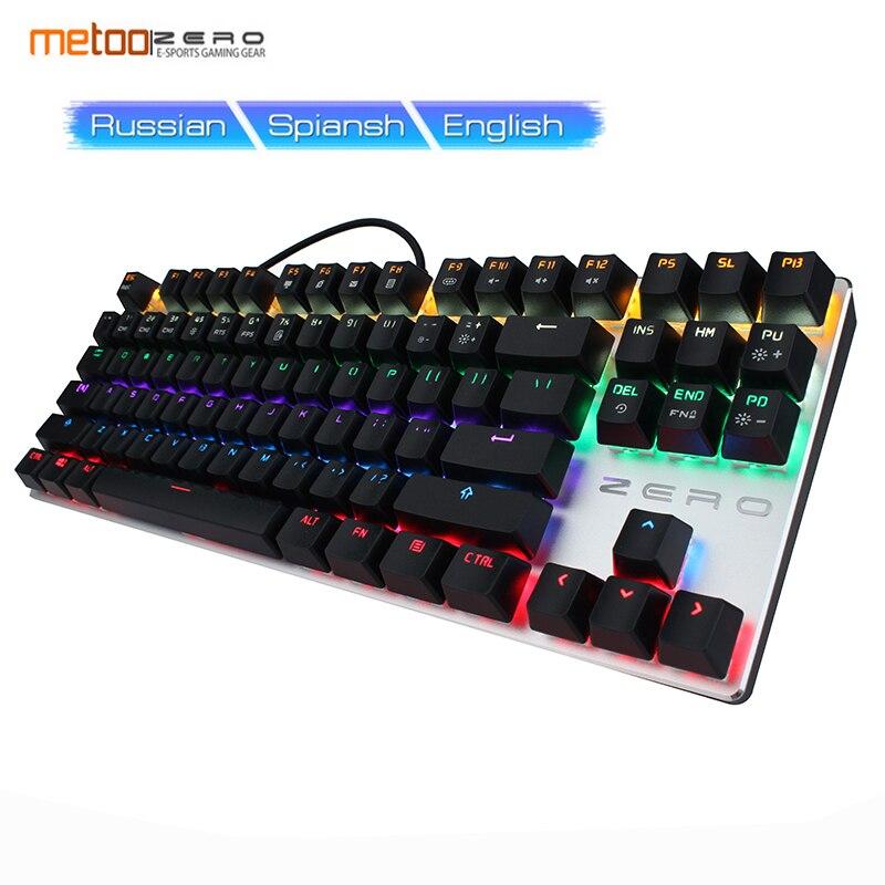 METOO ZERO Russian Gaming Mechanical Keyboard Original 104 87 key Backlit Key Cap Game Design Black