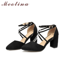 Meotina Women Shoes Pumps Gladiator Shoes Ankle Strap High Heels Cross-tied Thick Heel Pointed Toe Two Piece Footwear Size 34-43