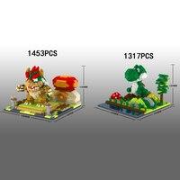 Classic game scenes micro diamond building block super mario bros nintendoes image dinosaur yoshi Bowser nanoblock bricks toys