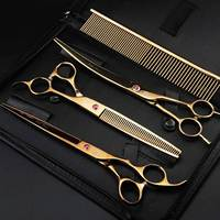 Pet Grooming Scissors Kit Golden 8 Professional Dog Hair Cutting Thinning Shears Set Puppy Cat Rabbit Hair Beauty Supplies