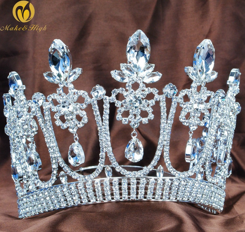 Floral Flower 5.3 Contoured Tiara Diadem Beauty Pageant Crown Wedding Bridal Clear Crystal Headband Party Costumes peacock star bridal wedding party quality sparkling pageant beauty contest black crystal tall tiara ct1389