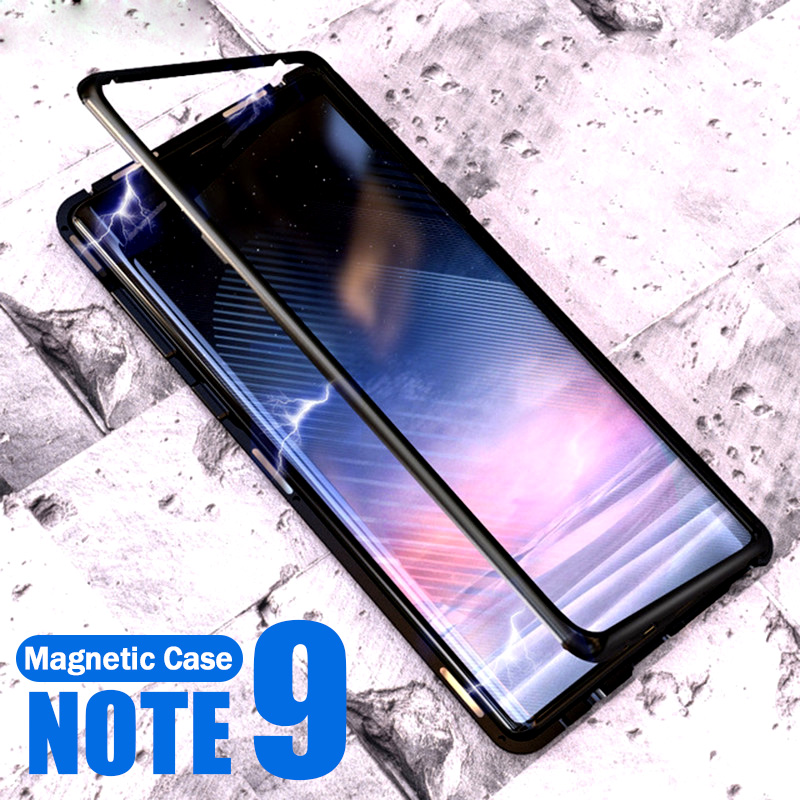 Magnetic Adsorption Flip Phone Case For Samsung Galaxy Note 9 Magnet Metal Tempered Glass Cover For Samsung Note 9 Note9 CasesMagnetic Adsorption Flip Phone Case For Samsung Galaxy Note 9 Magnet Metal Tempered Glass Cover For Samsung Note 9 Note9 Cases