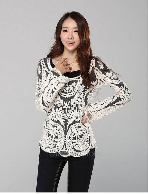 varios estilos artesanía exquisita lindos zapatos € 9.46  Mujer Blusas Femininas Sexy de manga larga blusa encaje Tops de  moda Crochet camisetas dama blusa camisa Plus tamaño en Blusas y camisas de  La ...