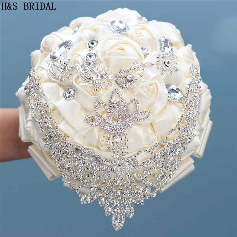 Ivory Wedding Bouquet with Crystal Ribbon Bride Bridesmaid Flower for Wedding Gift Elegant Artificial Rose Hot Sale 2019 thumbnail