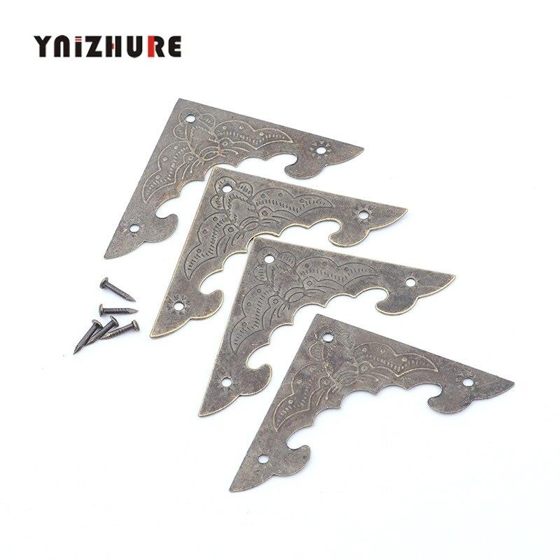 10PcsAncient Bronze Corner Filigree Triangle Bat Coner Cabochon Flatback Metal Embellishments Scrapbooking Decor For Wooden Box