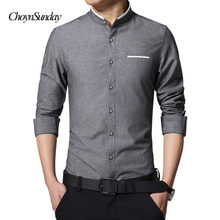 New Fashion Casual Men Shirt Long Sleeve Mandarin Collar Slim Fit Shirt Men Business Mens Dress Shirts Men Clothes Plus C(China)