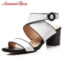 купить ANMAIRON Genuine Leather  Basic  Zandalias De Verano Mujer  High Heels Sandals Women  Buckle Strap Casual Shoes Size 34-40 LY889 по цене 2756.79 рублей