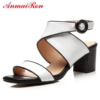 ANMAIRON Genuine Leather  Basic  Zandalias De Verano Mujer  High Heels Sandals Women  Buckle Strap Casual Shoes Size 34-40 LY889