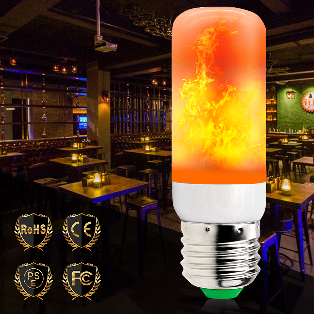 LED Lamp Flame Lights E27 Effect Light Bulb Fire 2835 Corn 220V Flicker 42leds Decoration