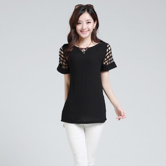 HTB1gQcqKpXXXXbQXXXXq6xXFXXXc - New Summer shirt Short sleeve Chiffon Blouse Tops Clothing 5XL