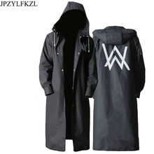 JPZYLFKZL Stylish EVA Black Adult Raincoat Alan Walker Pattern Outdoor Men's Long Style Hiking Poncho Environmental rain coat(China)