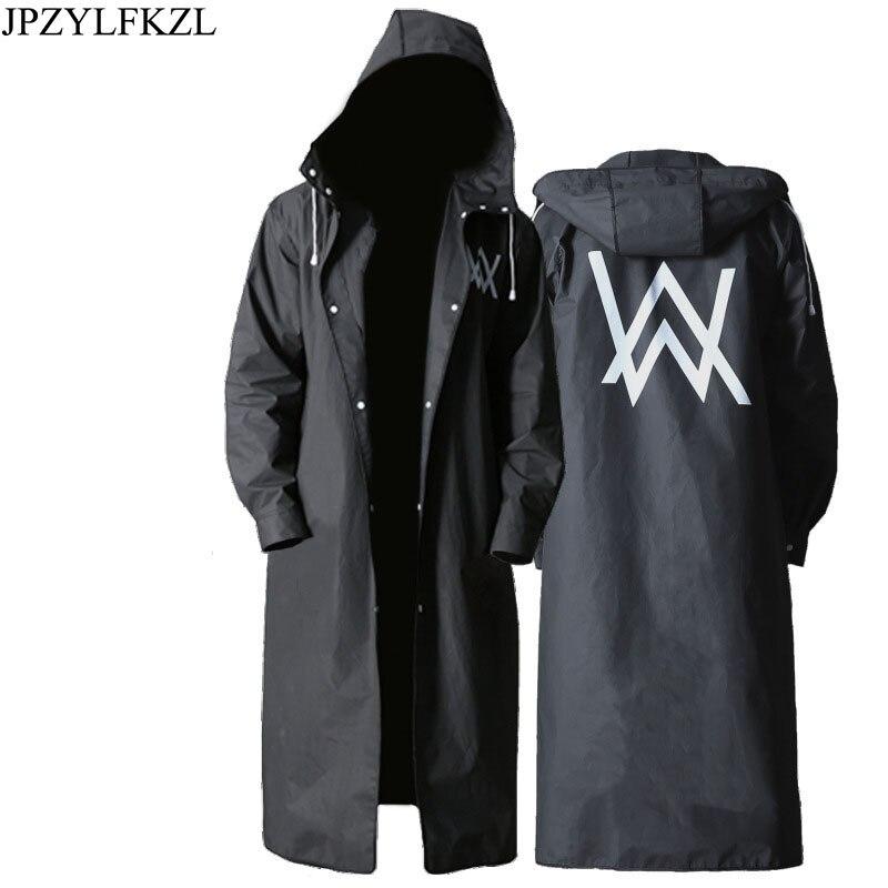Jpzylfkzl elegante eva preto adulto capa de chuva alan walker padrão longo estilo ao ar livre dos homens caminhadas poncho ambiental casaco de chuva