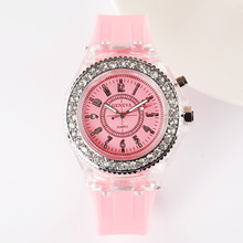все цены на Luminous Personality Rhinestone Watch Harajuku Version Watch Fashion Trend Male And Female Students Couple Jelly Quartz Watch