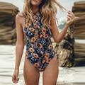 2016 Sexy Brazilian Monokini Print String Bandage Push Up Bathing Suit One Piece Swimsuit Women Beachwear High Neck Swimwear