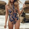 2016 Sexy Monokini Brasileira Seqüência de Impressão Bandagem Empurrar Para Cima Maiô One Piece Swimsuit Mulheres Beachwear Alta Pescoço Swimwear