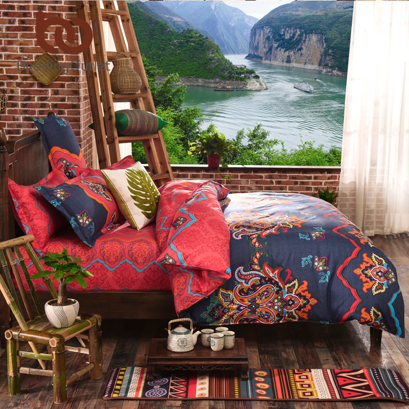 BeddingOutlet Boho Bedding Set Floral Bed Linen Home Textiles Printed Duvet Cover 4Pcs Twin Queen couvre lit Direct Selling