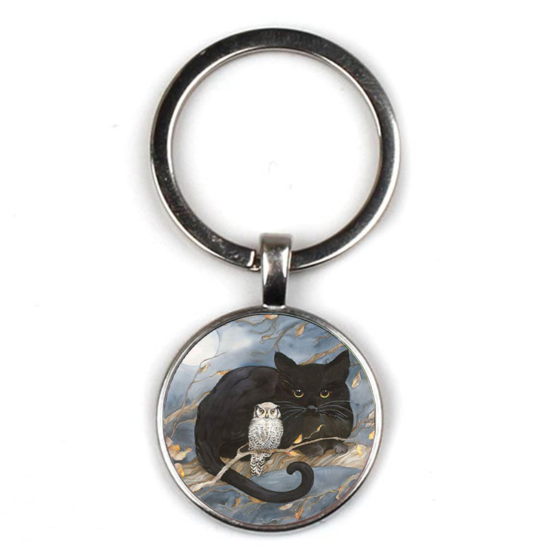 Fashion Black Cat Owl Pattern Keyring Retro Painting Cat Crystal Glass Key Chain Men Women Accessories Car Package Party Gifts