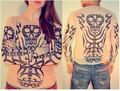 2016 Envío Gratis Punk Tatuaje Falso Camisas como regalo de la promoción Mejor camisetas Ropa Del Tatuaje Venta Caliente