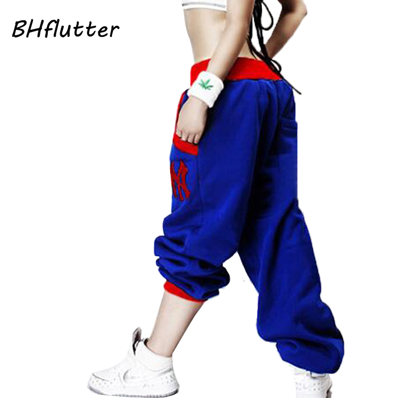 BHflutter Women Pants 2018 Embroidery Casual Loose Hip Hop Pants Elastic Low Waist Womens Spring Winter Trousers Harem Pants