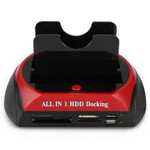 All in One HDD Docking Station with Multi Card Reader Slot for HDD Enclosure 2.5/3.5 inch SATA/IDE USB 2.0 Built-in OTB OTC(China)
