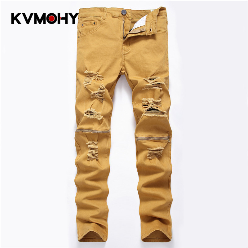 Men's Jeans Slim Pants Fashion Brand Men Pencil Pants Straight Khaki Hole Ripped Jean For Men  Biker Jeans