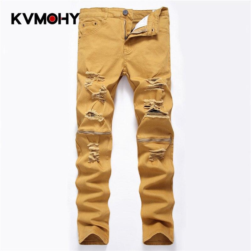 Men's Jeans Slim Pants Fashion Brand Men Pencil Pants Straight Khaki Hole Ripped Jean For Men  Biker Jeans