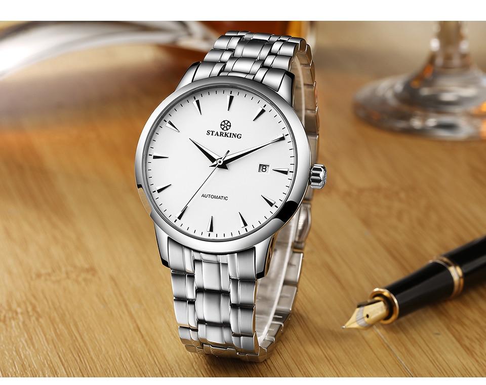 HTB1gQdKlnJYBeNjy1zeq6yhzVXaY STARKING Automatic Watches Men Stainless Steel Business Wristwatch Leather Fashion 50M Waterproof Male Clock Relogio Masculino