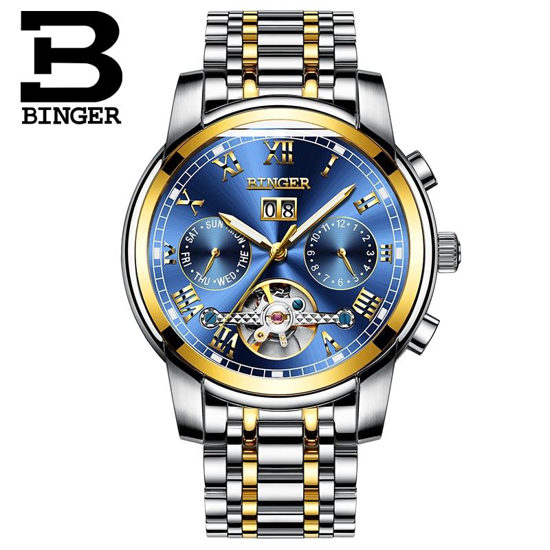Relojes deportivos de moda Suiza BINGER Tourbillon reloj mecánico calendario zafiro luminoso impermeable reloj automático para hombre-in Relojes mecánicos from Relojes de pulsera    2