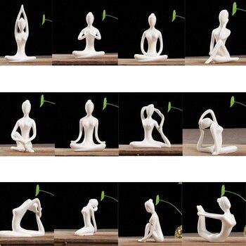 Set 12pcs Yoga Posture Figurine Tabletop Ornament Statue for Home Office Decor