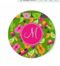 1.5 дюйма монограмма Fiesta партии сомбреро кактус Лаймы перец Классический круглый Стикеры