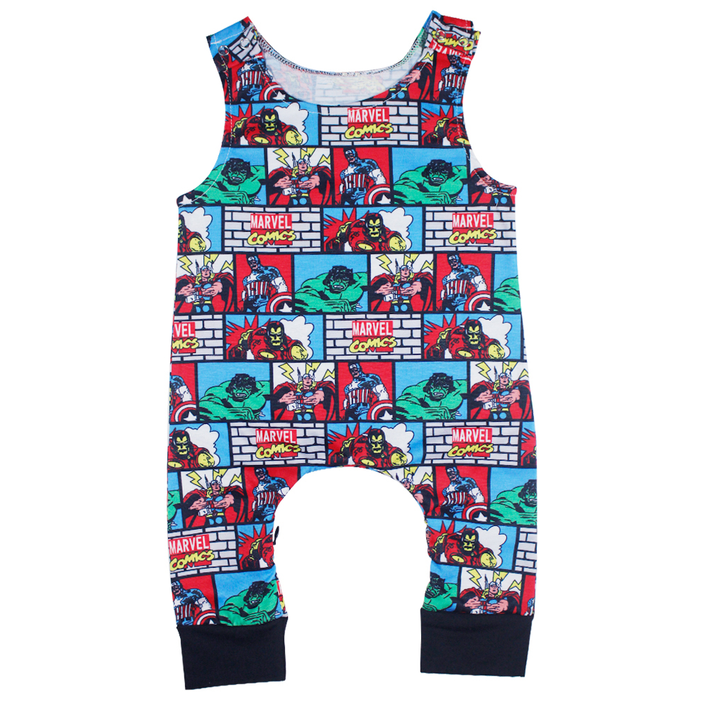 2017 Funny Baby Boy Rompers Super Hero Print Tiny Cottons Short Sleeve Baby Boy Jumpsuits Sunsuit Outfit Baby Onesie 0-24M Baby