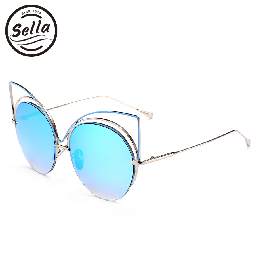 Sella 2018 New Fashion Women Oversized Cateye Sunglasses Alloy Hollow Out Frame Mirror Coating Film Summer Sun Glasses UV400