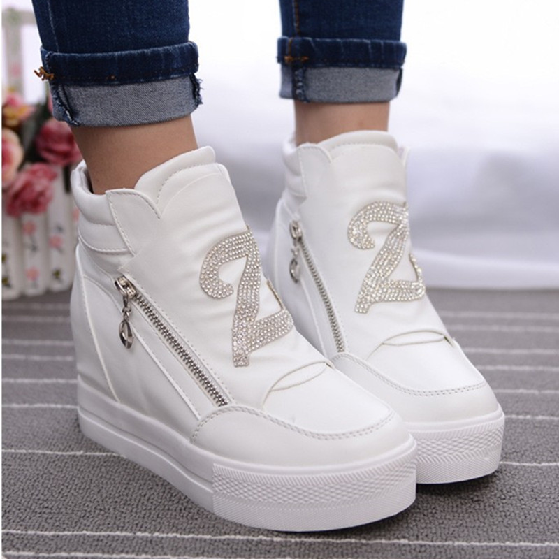Women Boots Wedge Concealed Heel High Top Platform Ankle Boots Lace-Up Rhinestone Boots Zipper Shoes Size 35-39 Free Ship S49 women boots mixed colors wedge concealed heel high top platform ankle boots lace up woman casual shoes ankle boot size 35 39 s44