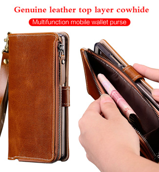 Zipper Genuine Leather Stand Holder Case For Xiaomi Mi 10 Pro 9 9T Pro 8 A3 A2 Redmi Note 8 pro 8T Note 9 pro 9s 7 5 Wallet Bags