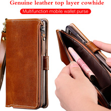 Zipper Genuine Leather Stand Holder Case For Xiomi Mi 9 9T P