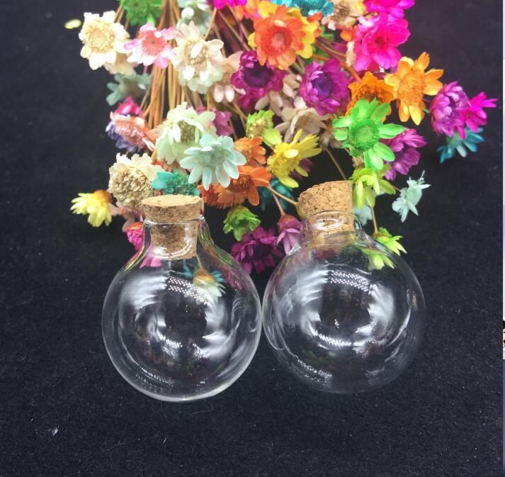 50pcs 24*28mm Round Ball Mini wishing Bottles Pendants Small Glass drift Bottles With Cork party diy Gift Glass Jars Vial Charms