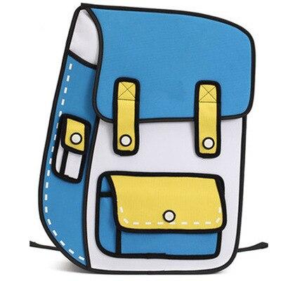 2019 Nova 3D 2D Salto Estilo de Desenho de Papel Dos Desenhos Animados Bag Comic Mochila Mensageiro Tote Sacos de Moda Estudante Bonito Unisex Bolos