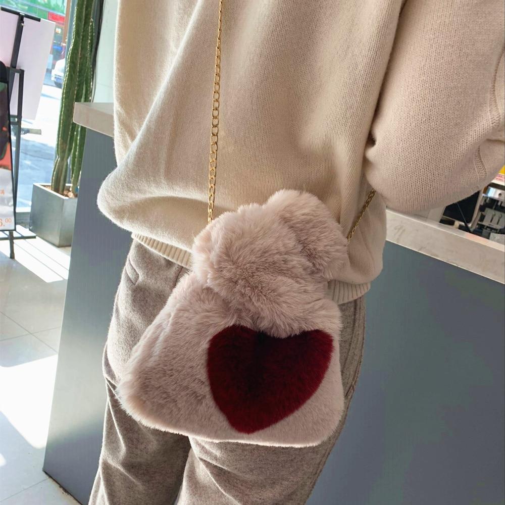 Super Cute Kids Faux Fur Handbag Leopard Heart Vest Shape Fur Crossover It Bag Winter Handbag Drawstring Handbag For Girl Small
