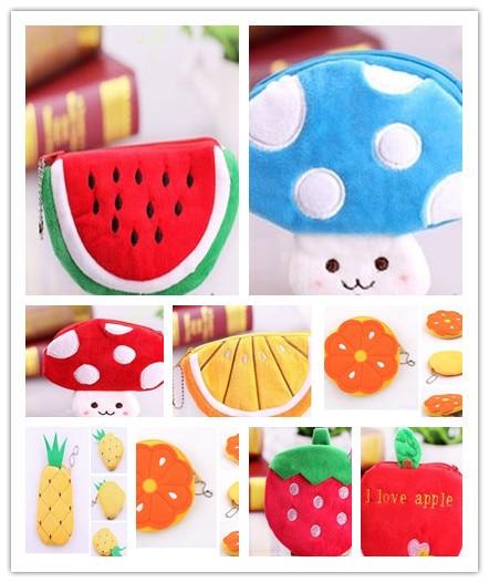 10PCS Cartoon MIX Fruit Plush Coin Purse & Wallet Pouch Bag Case ; Pendant Chain Purse Bag Case Pouch BAG Wallet Handbag