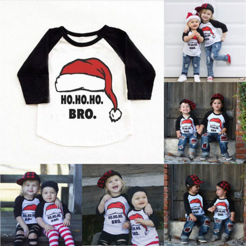T-Shirts Boys Tops Half-Sleeve Christmas Girls Baby Casual Cotton Fashion Letter Kid