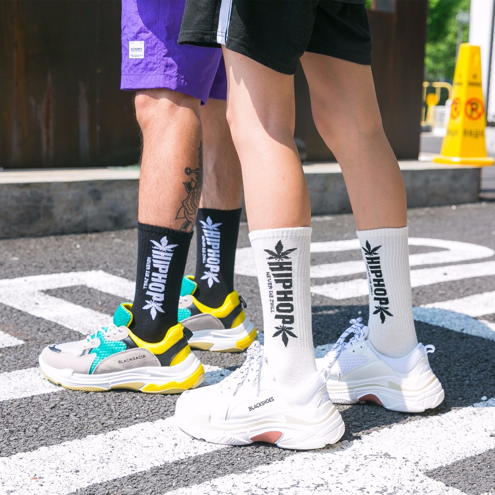 New Harajuku Style Hip Hop Men's Weed Socks Street Funny Socks Tide Male Skateboard Business Socks Cotton Men's Couple Socks