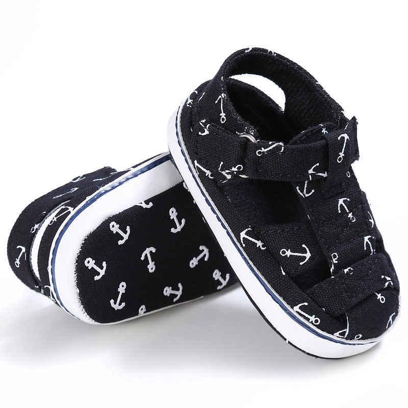 Pasgeboren Baby Baby Meisjes Jongens Zomer Casual Sandaal Schoenen 2 Stijl Katoen Afdrukken Haak Zachte Baby Schoenen 0-18 m