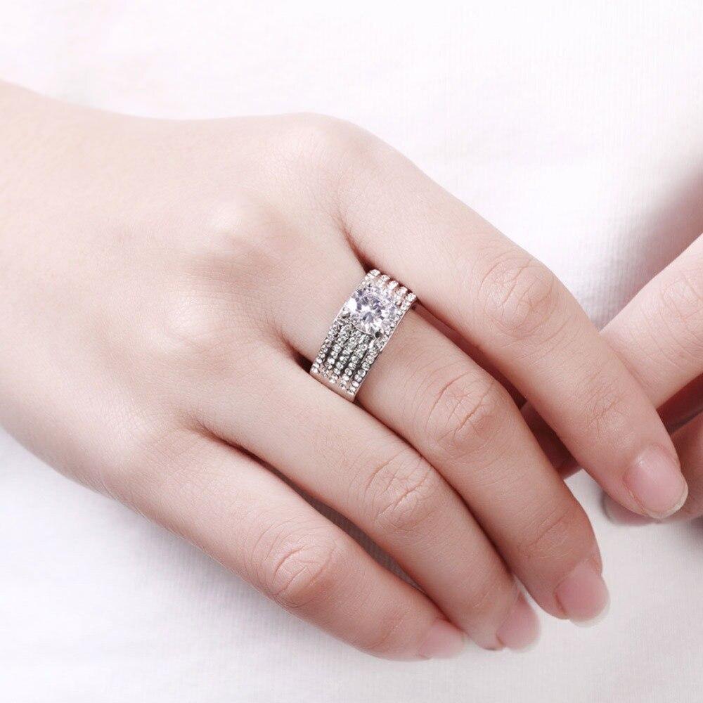 TANGKA high quality new fashion female silver ring cz shop white ...